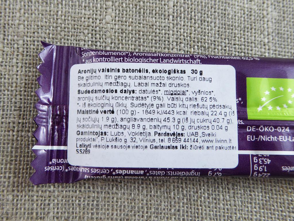 """""""Lubs: Aronia"""" (Aronijų vaisinis batonėlis)"""