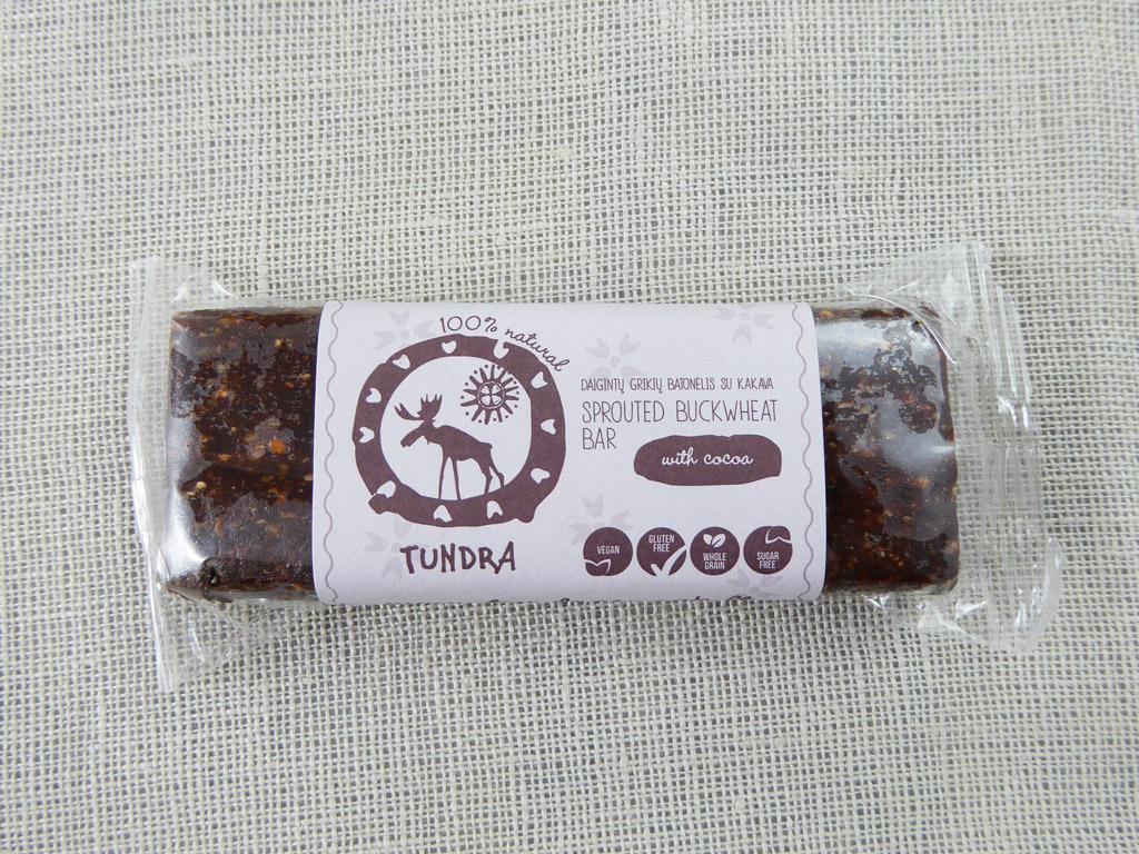 """""""Tundra"""" daigintų grikių batonėlis su kakava"""