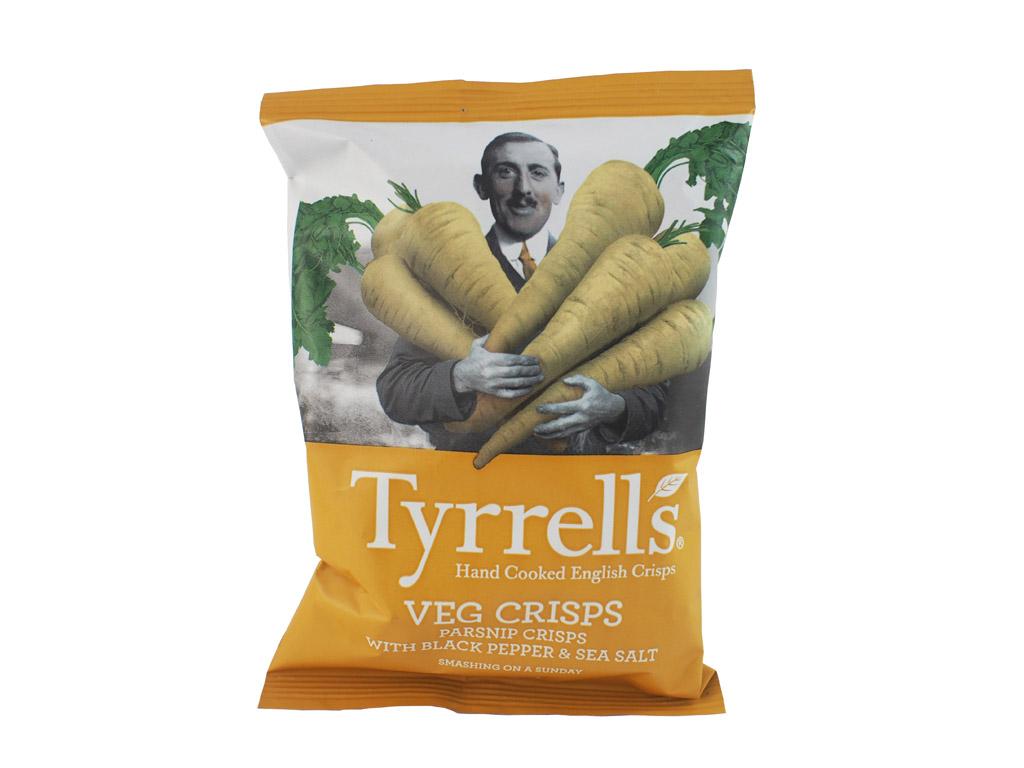 Tyrrell's: Parsnip Crisps (Pastarnoko traškučiai su juodaisiais pipirais ir jūros druska)