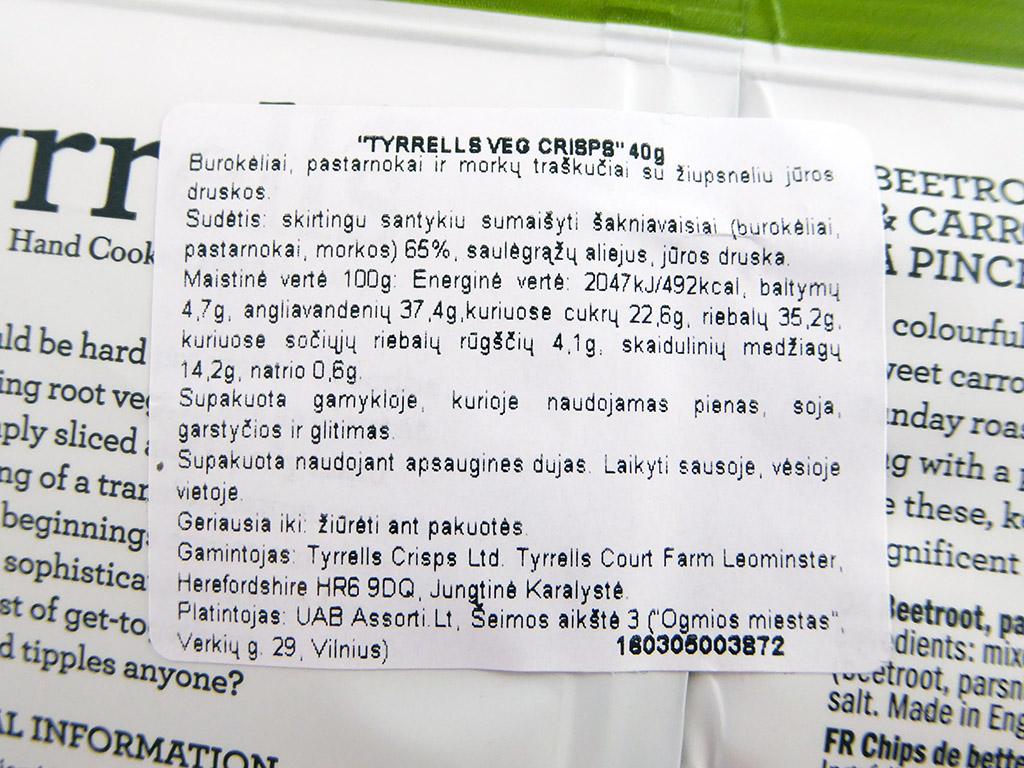 Tyrrell's: Beetroot, Parsnip & Carrot Crisps (Burokėlių, pastarnoko ir morkų traškučiai su žiupsneliu jūros druskos)