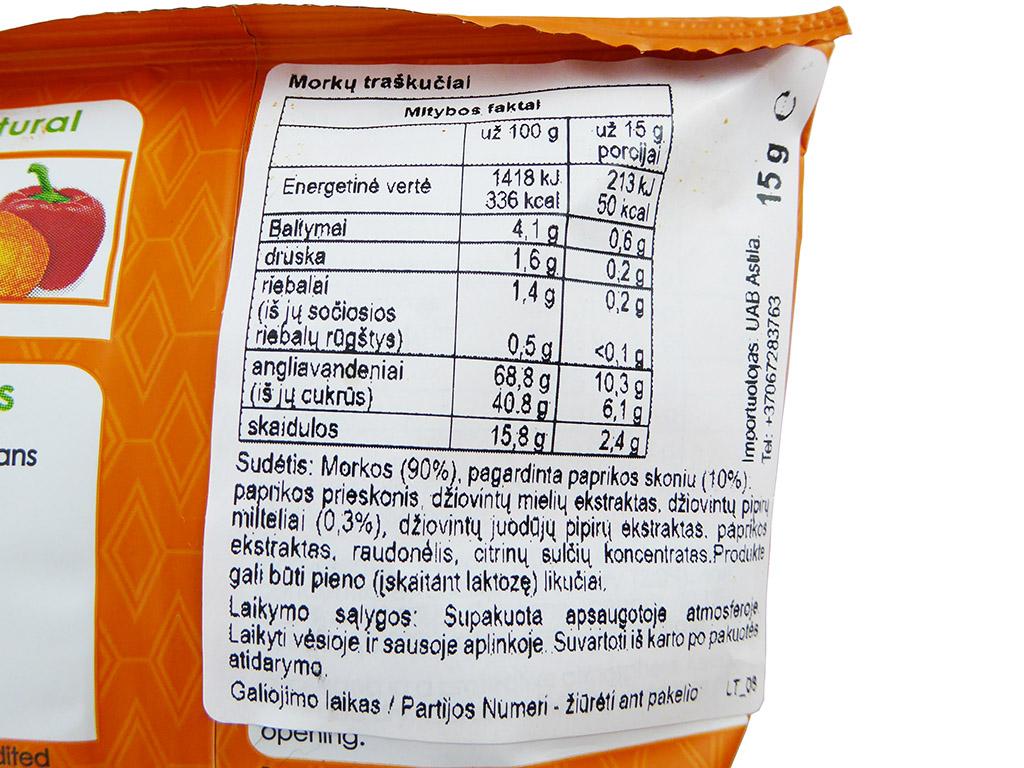 Crispy Natural: Carrot Crisps (Morkų traškučiai su aštriu prieskonių mišiniu)