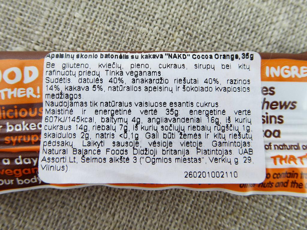 "Batonėlis ""Nakd: Cocoa Orange"" (Apelsinų skonio batonėlis su kakava)"