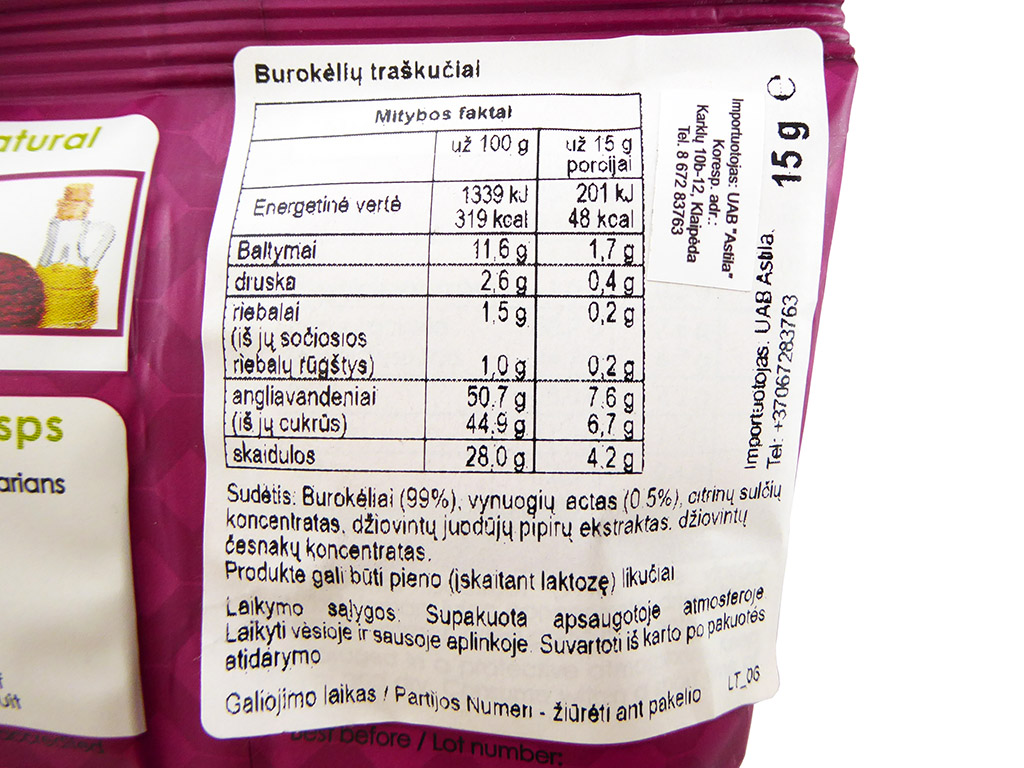 Crispy Natural: Beetroot Crisps (Burokėlių traškučiai)
