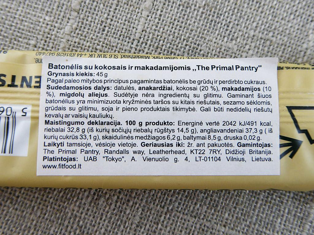 """Batonėlis """"The Primal Pantry: Coconut & Macadamia"""" (Kokosai ir makadamijos riešutai)"""