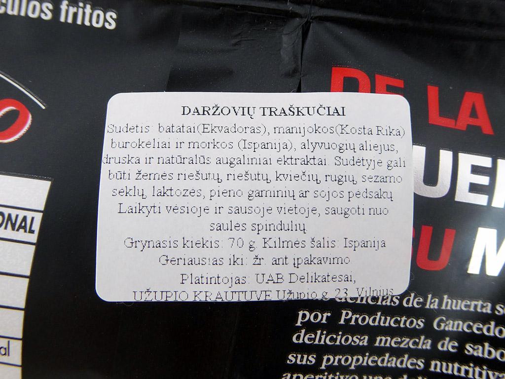 """""""Gancedo"""" daržovių traškučiai"""