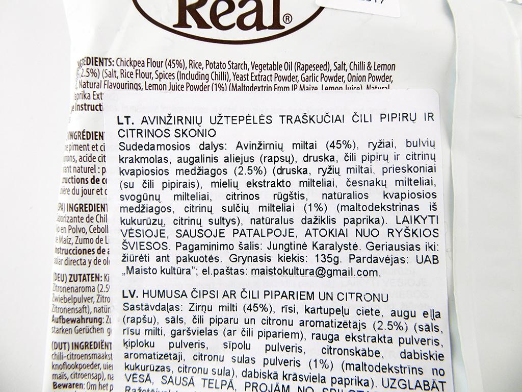 Eat Real: Hummus Chips (Avinžirnių užtepėlės traškučiai čili pipirų ir citrinos skonio)