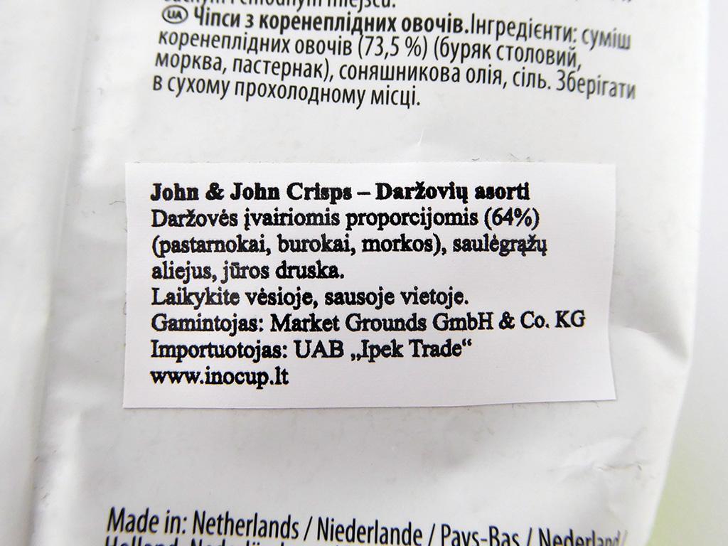 """John & John: Vegetable Crisps"" daržovių asorti"