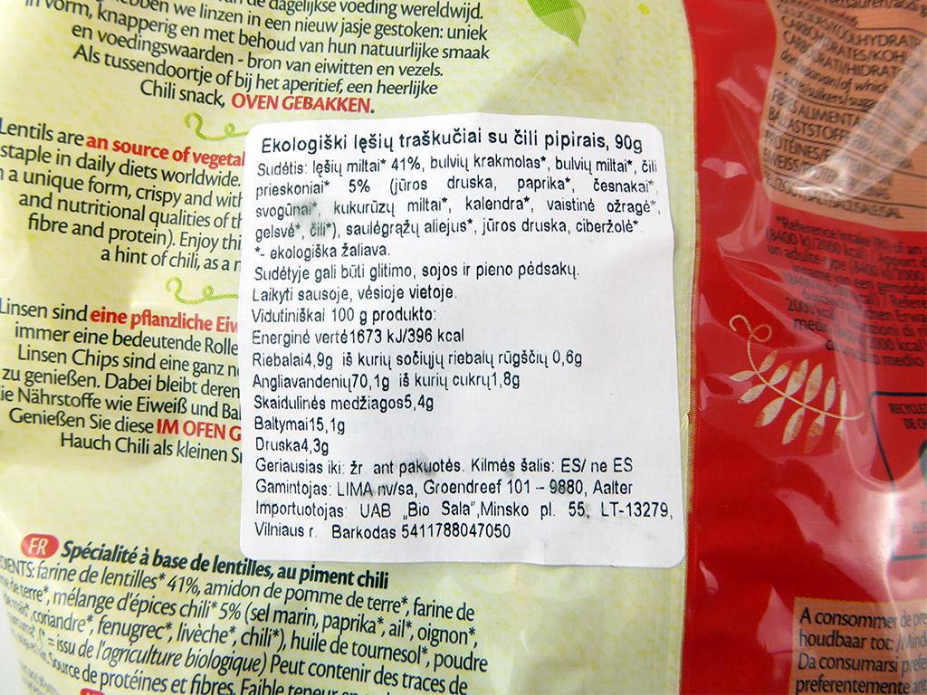 Lima: Lentil Chips (Lęšių traškučiai su čili pipirais)