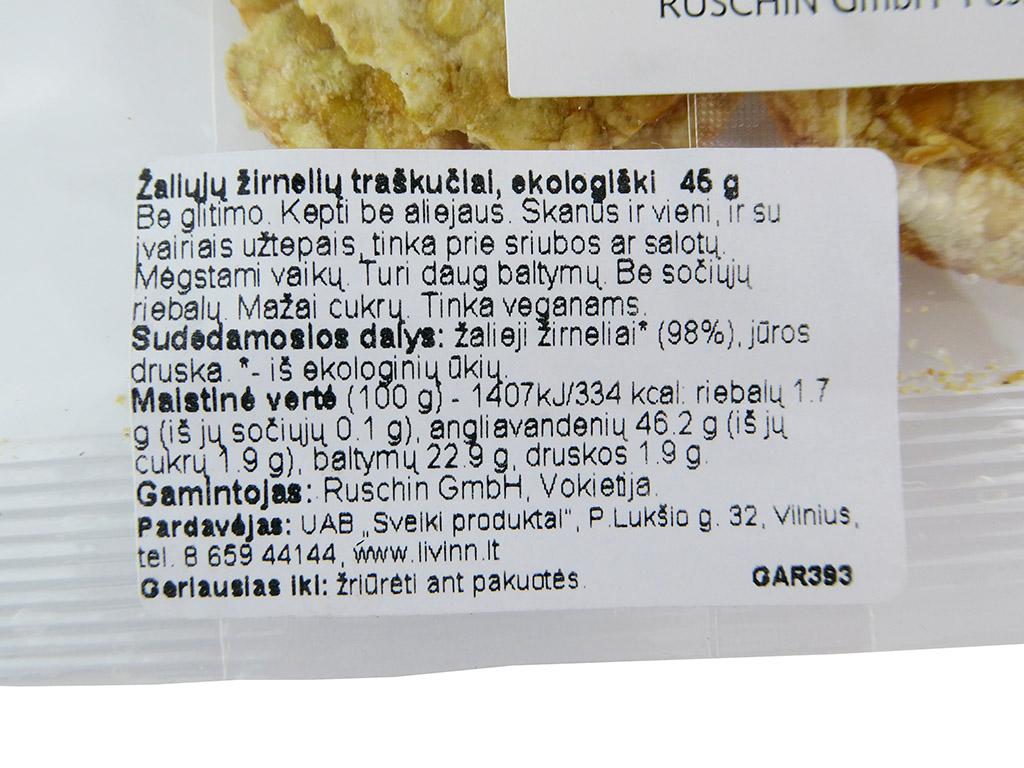 """""""Ruschin Makrobiotik: Erbsen-Chips"""" (Žaliųjų žirnelių traškučiai)"""