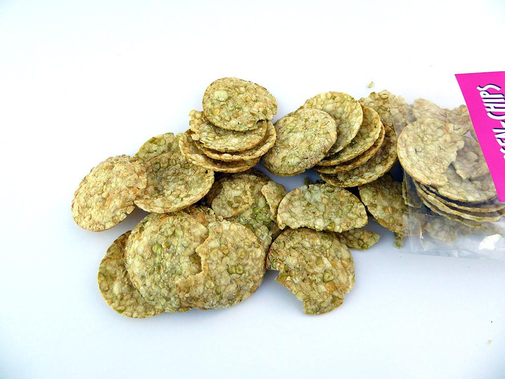 Ruschin Makrobiotik: Erbsen-Chips (Žaliųjų žirnelių traškučiai)