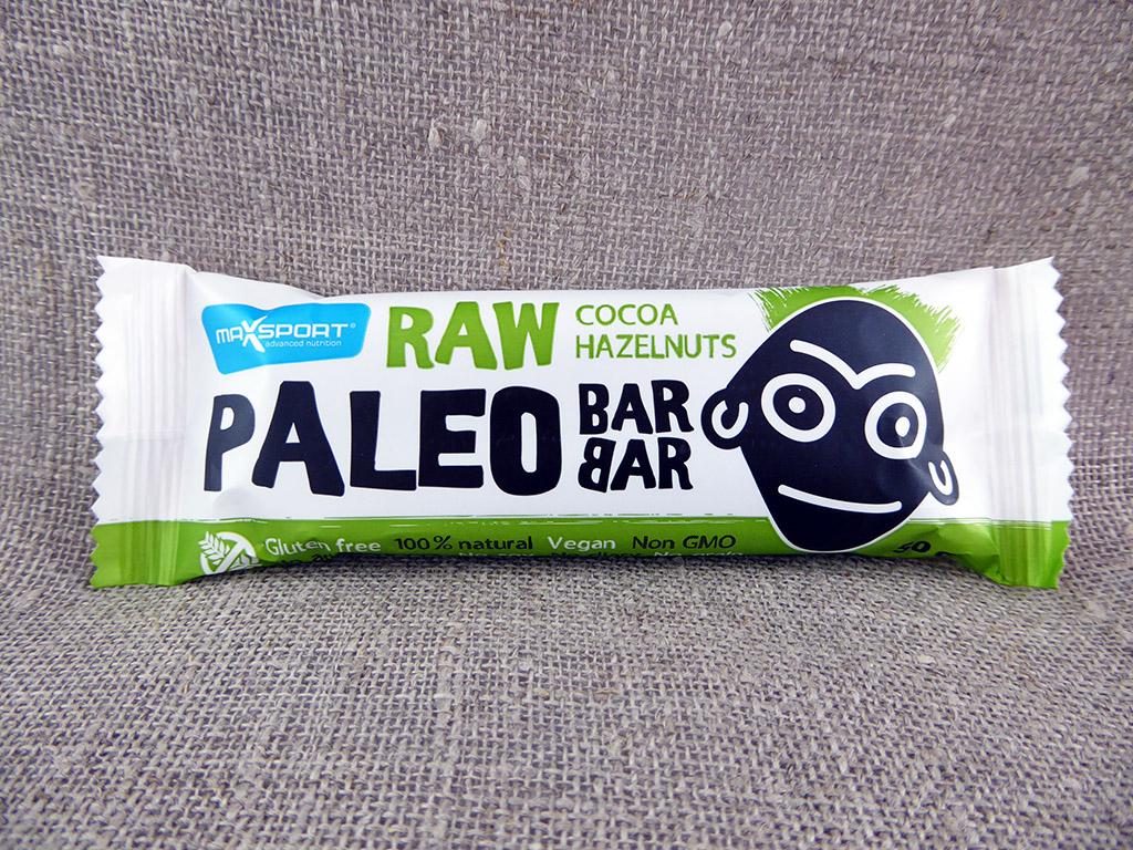 "Batonėlis ""MaxSport Raw Paleo Barbar: Cocoa, Hazelnuts"" (Su kakava ir lazdyno riešutais)"
