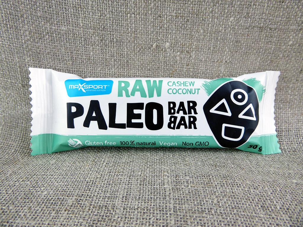 """Batonėlis """"MaxSport Raw Paleo Barbar: Cashew, Coconut"""" (Su kokosais ir anakardžio riešutais)"""