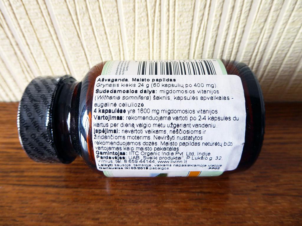 """Maisto papildas Ashwagandha: """"Organic India: Ašvaganda (400 mg, 60 kapsulių)"""""""