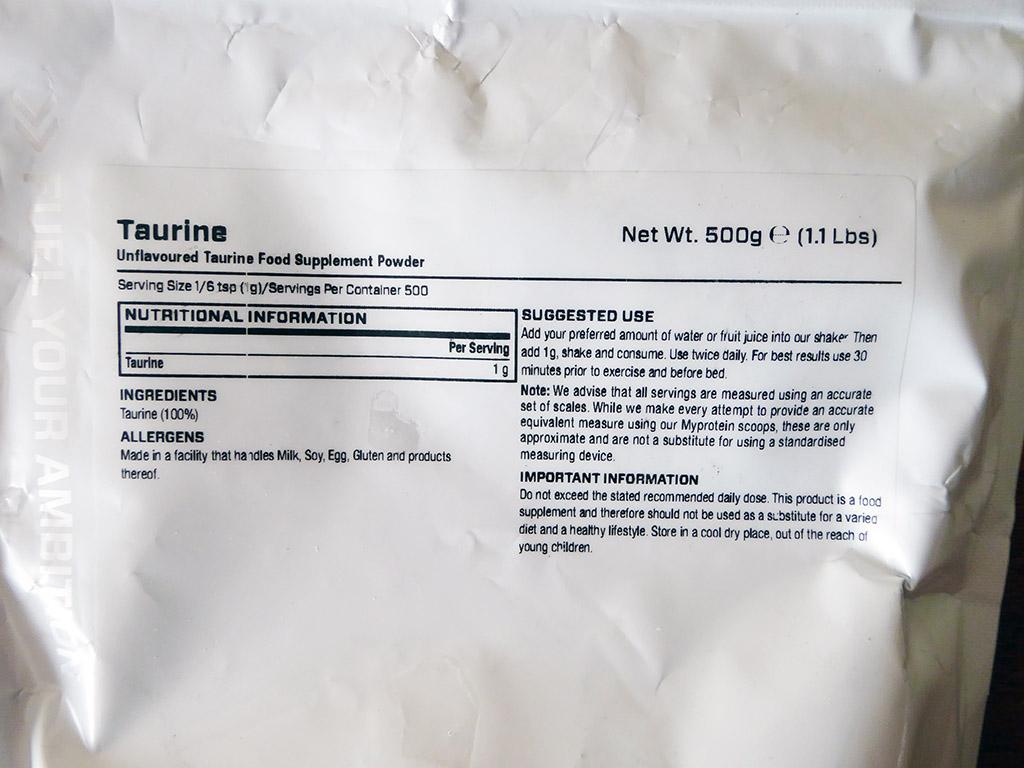 """Aminorūgštis taurinas: """"MyProtein Taurine (500 g)"""""""
