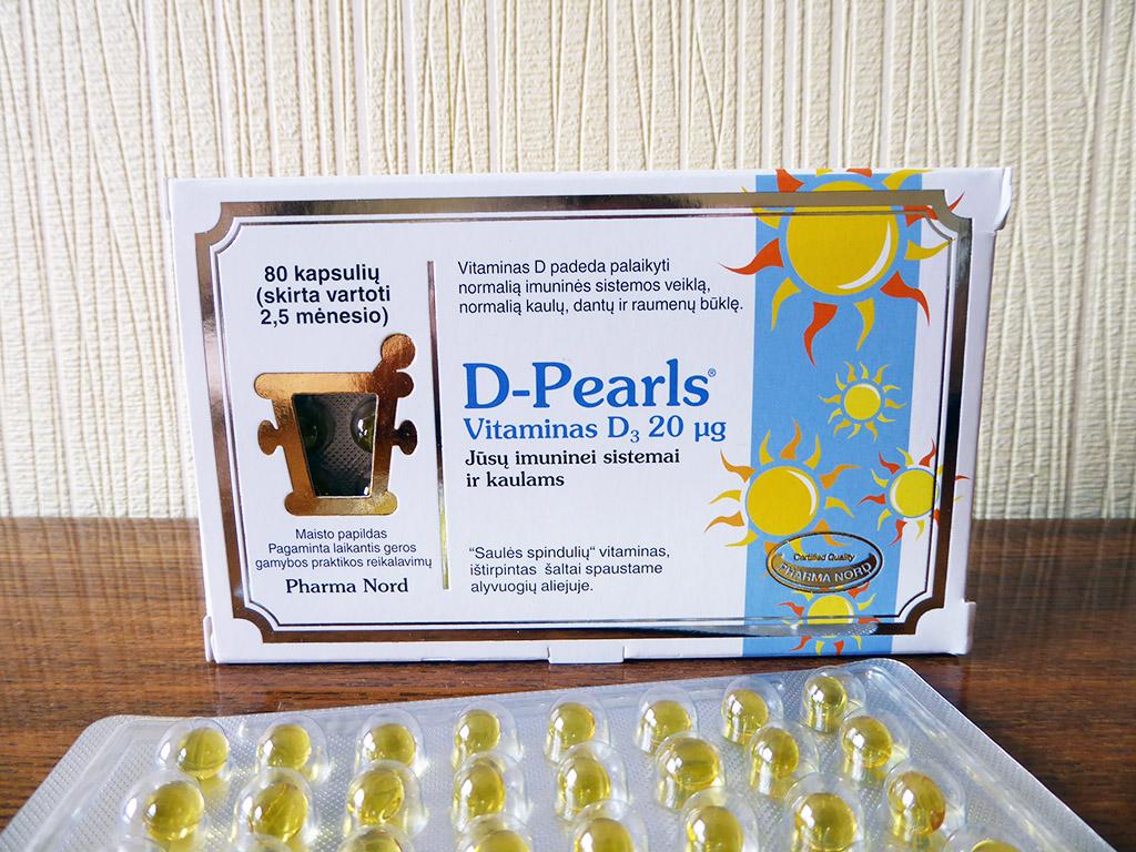 """Vitaminas D: """"D-Pearls (20 µg, 80 kapsulių)"""""""