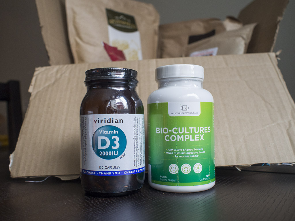 """Viridian"" vitaminas D3, ""Nutribioticals"" probiotikai iš amazon.co.uk"